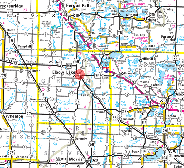 Minnesota State Highway Map of the Elbow Lake Minnesota area