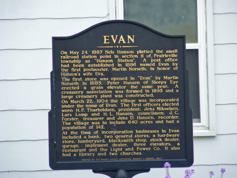 Plaque in front of City Hall, Evan Minnesota, 2011