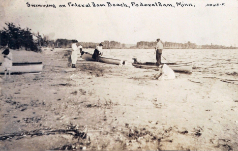 Swimming on Federal Dam Beach, Federal Dam Minnesota, 1910's