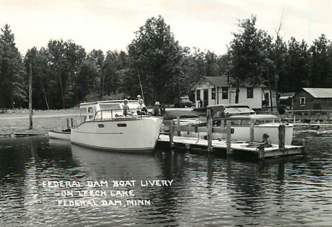 Federal Dam Boat Livery on Leech Lake, Federal Dam Minnesota, 1950's