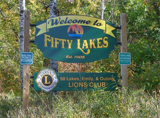 Welcome sign, Fifty Lakes Minnesota