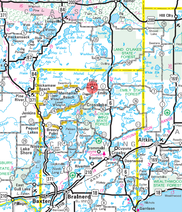 Minnesota State Highway Map of the Fifty Lakes Minnesota area
