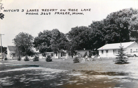 Mitch's 3 Lakes Resort on Rose Lake, Frazee Minnesota, 1960's