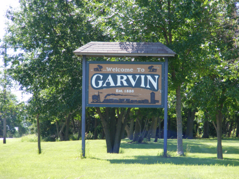 Welcome sign, Garvin Minnesota, 2014