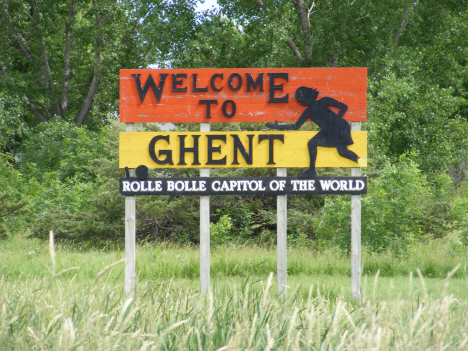 Welcome sign, Ghent Minnesota, 2011