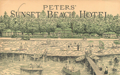 Peters' Sunset Beach Motel on Lake Minnewaska, Glenwood Minnesota, 1943