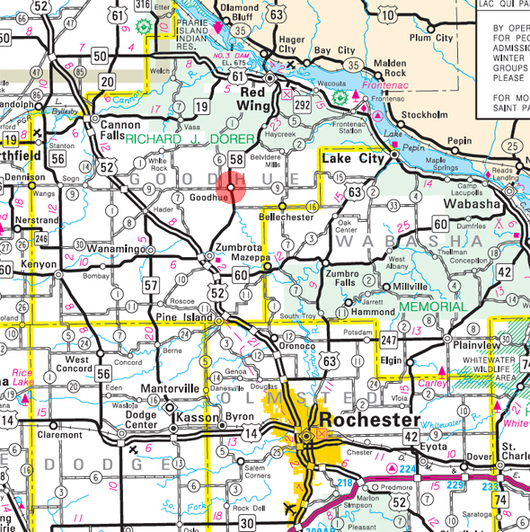 Minnesota State Highway Map of the Goodhue Minnesota area