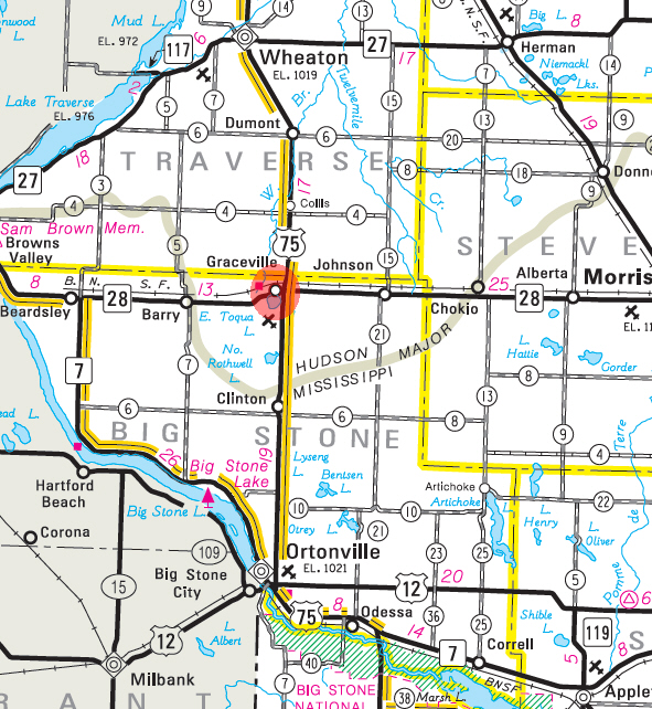 Minnesota State Highway Map of the Graceville Minnesota area