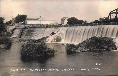 Dam on the Minnesota River, Granite Falls Minnesota, 1945