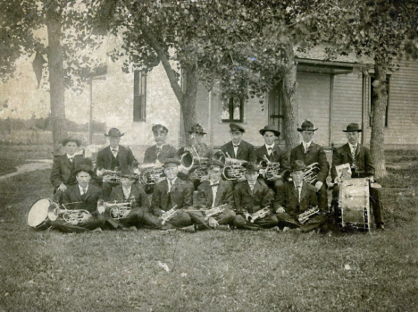 Grasston Cornet Band in front of Grasston Church, Grasston, Minnesota, 1910's?