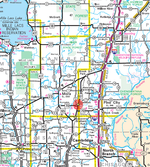 Minnesota State Highway Map of the Grasston Minnesota area