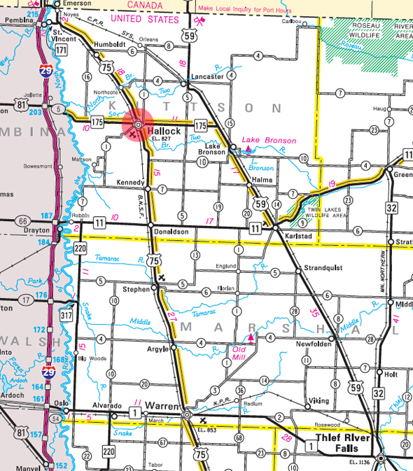 Minnesota State Highway Map of the Hallock Minnesota area