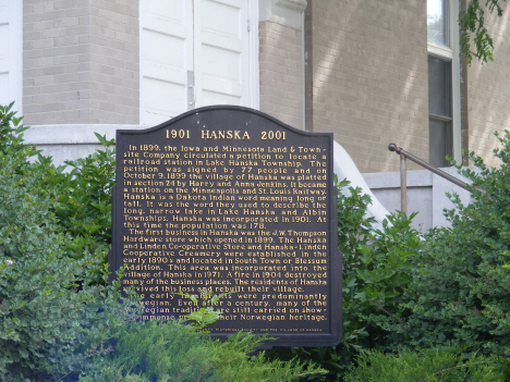 Historic marker in front of Liberal Union Hall, Hanska Minnesota, 2014