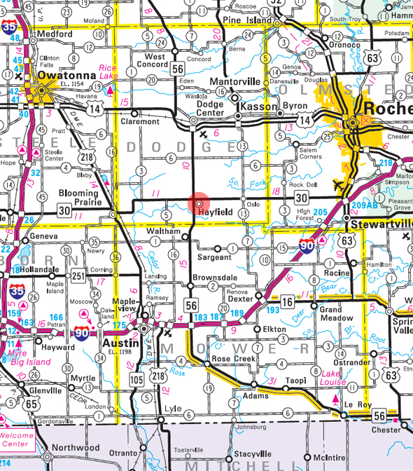 Minnesota State Highway Map of the Hayfield Minnesota area