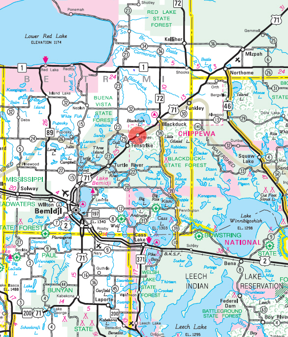 Minnesota State Highway Map of the Hines Minnesota area
