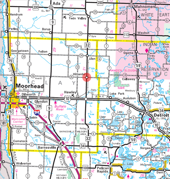 Minnesota State Highway Map of the Hitterdal Minnesota area