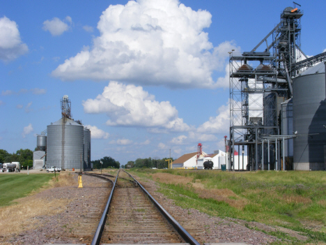Grain elevators and railroad tracks, Holloway Minnesota, 2014