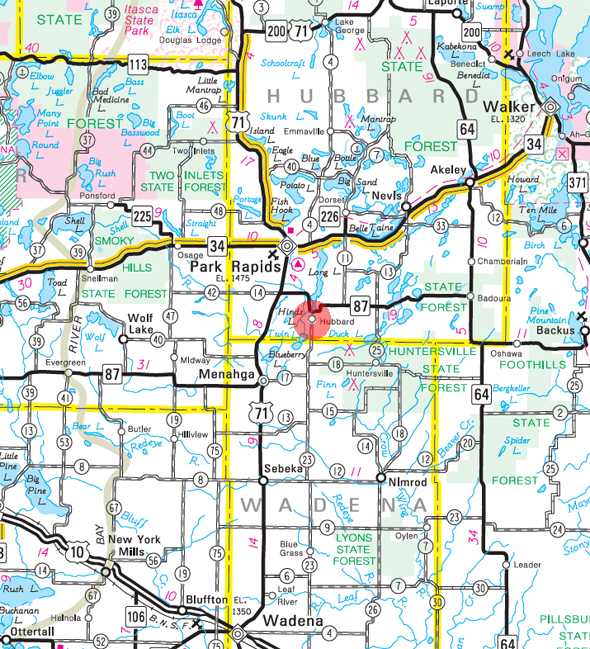 Minnesota State Highway Map of the Hubbard Minnesota area