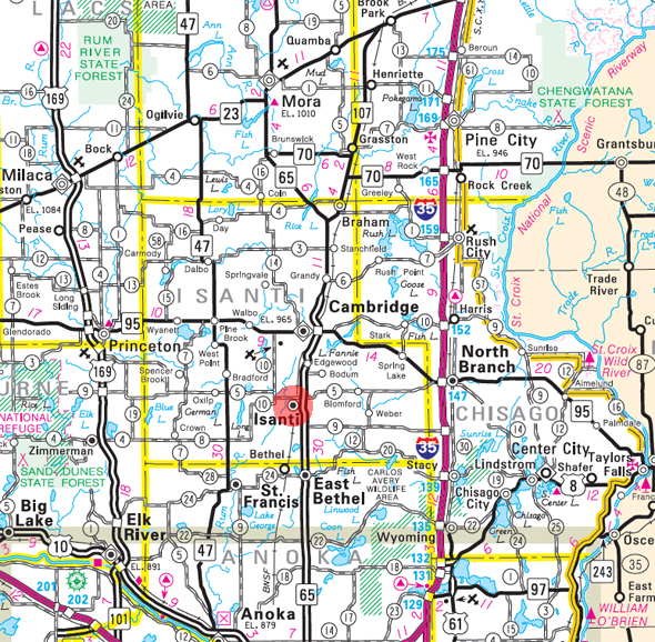 Minnesota State Highway Map of the Isanti Minnesota area