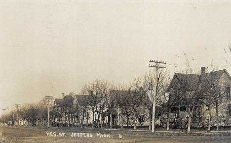 Residential street, Jeffers Minnesota, 1910