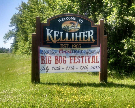 Welcome sign, Kelliher Minnesota, 2015