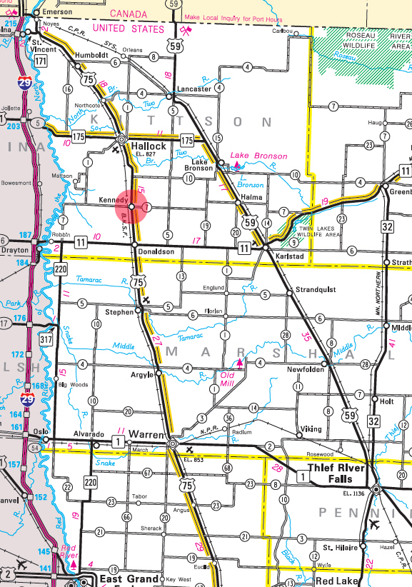 Minnesota State Highway Map of the Kennedy Minnesota area