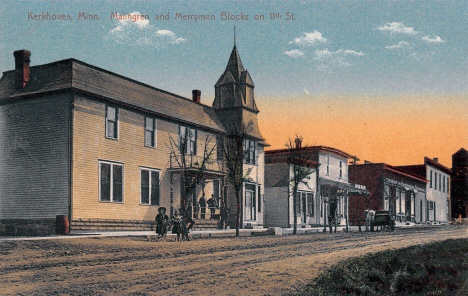 Malingren and Merryman blocks on 11th Street, Kerkhoven Minnesota, 1910