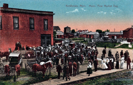 Music on First Market Day, Kerkhoven Minnesota, 1910