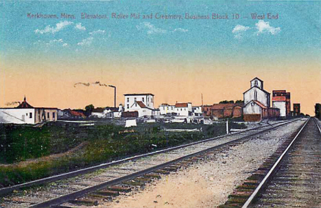 Elevators, Roller Mill and Creamery, Kerkhoven Minnesota, 1910