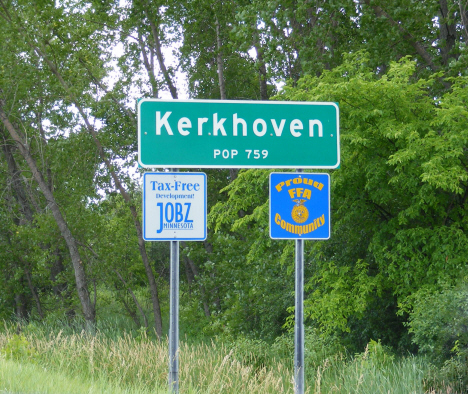 Population sign, Kerkhoven Minnesota, 2014