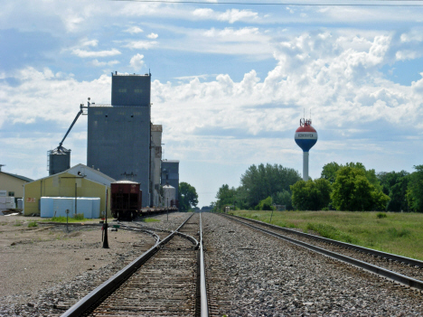 Railroad tracks and grain elevator, Kerkhoven Minnesota, 2014