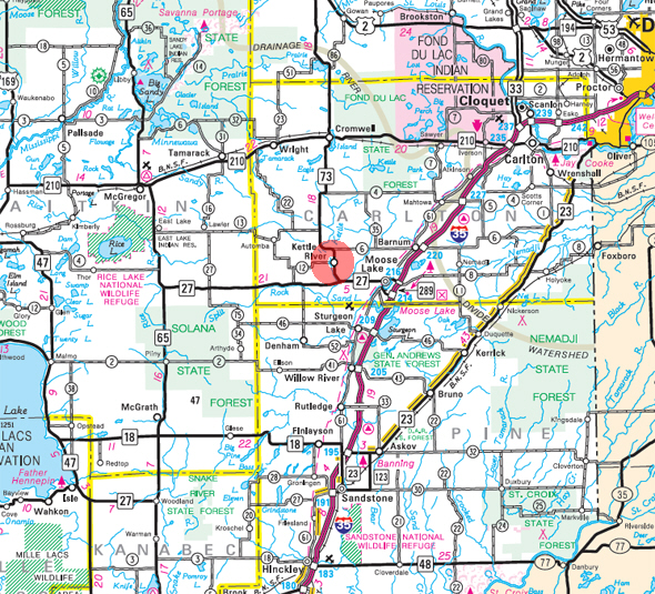 Minnesota State Highway Map of the Kettle River Minnesota area