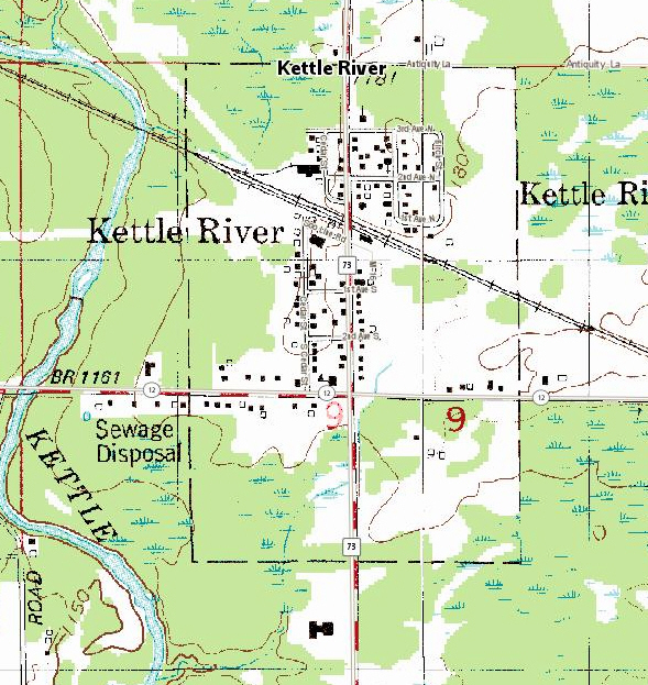 Topographic map of the Kettle River Minnesota area