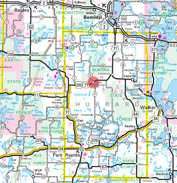 Minnesota State Highway Map of the Lake George Minnesota area