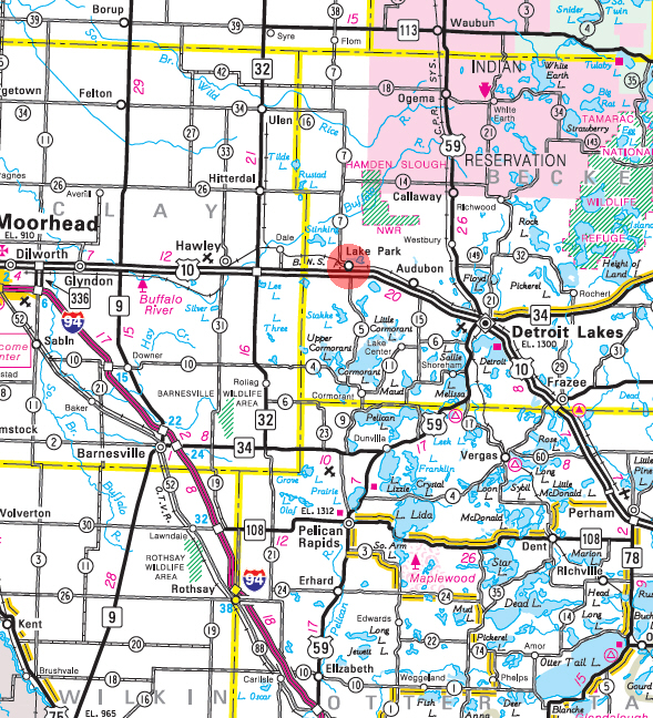 Minnesota State Highway Map of the Lake Park Minnesota area