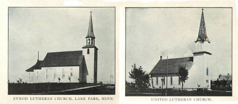 Synod Lutheran Church and United Lutheran Church, Lake Park Minnesota, 1910