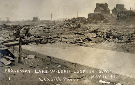 Broadway after fire, Lake Wilson Minnesota, 1911