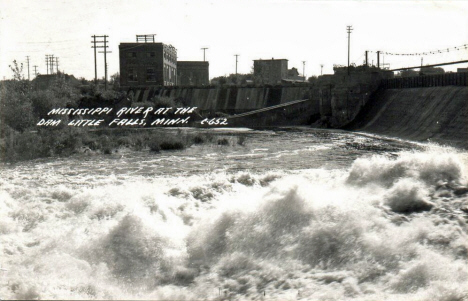 Mississippi River at the Dam, Little Falls Minnesota, 1949