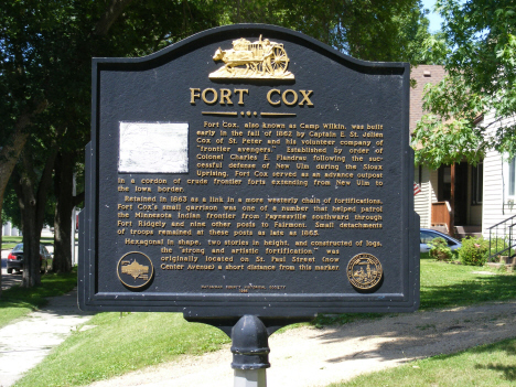 Historical marker at location of Fort Cox, Madelia Minnesota, 2014