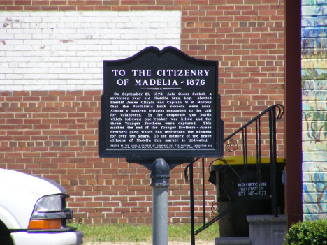Plaque commemorating the capture of the Younger Bros and the James Gang, Madelia Minnesota, 2014