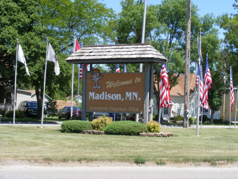Welcome sign, Madison Minnesota, 2014
