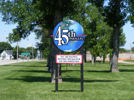 Sign marking location of 45th parallel, Madison Minnesota, 2014