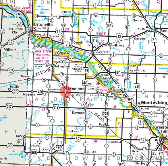 Minnesota State Highway Map of the Madison Minnesota area