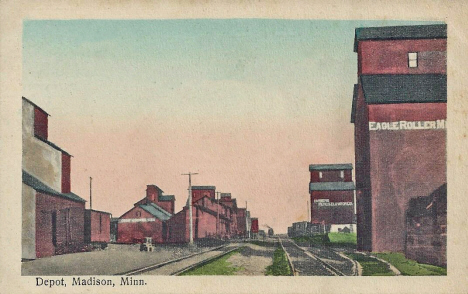 Depot and Elevators, Madison Minnesota, 1910's