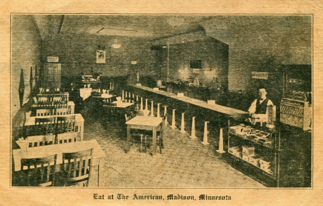 Interior of the American Restaurant, Madison Minnesota, 1920's