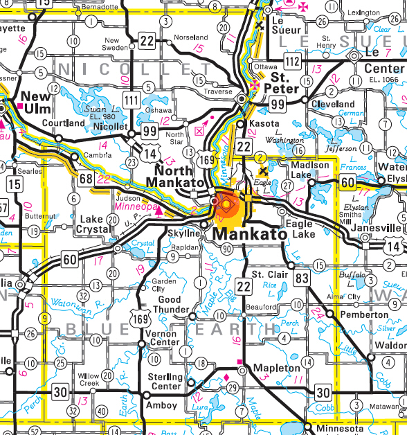 Minnesota State Highway Map of the Mankato Minnesota area
