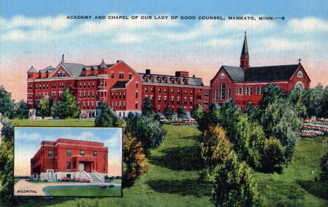 Academy and Chapel of Our Lady of Good Counsel, Mankato Minnesota, 1940's