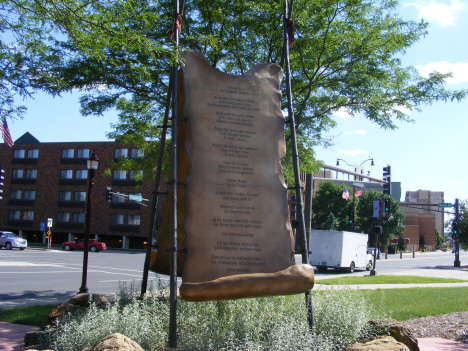 Memorial to the 38 Indians hanged, Reconciliation Park, Mankato Minnesota, 2014
