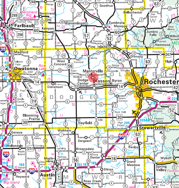 Minnesota State Highway Map of the Mantorville Minnesota area