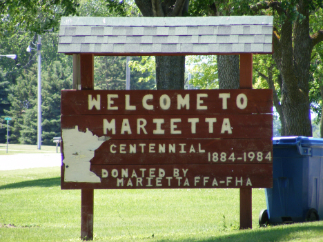 Welcome sign, Marietta Minnesota, 2014
